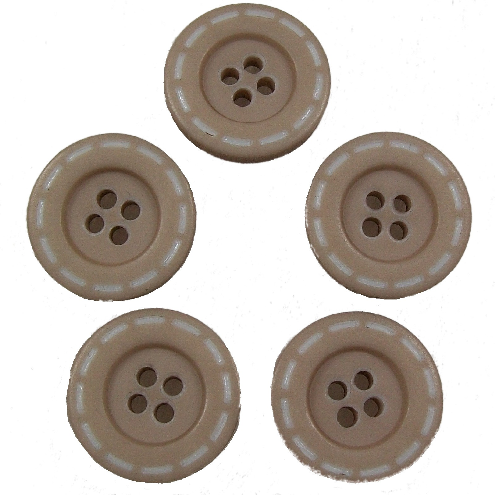 Stitched Edge Effect 4 Hole Buttons 17mm Light Brown Pack of 5