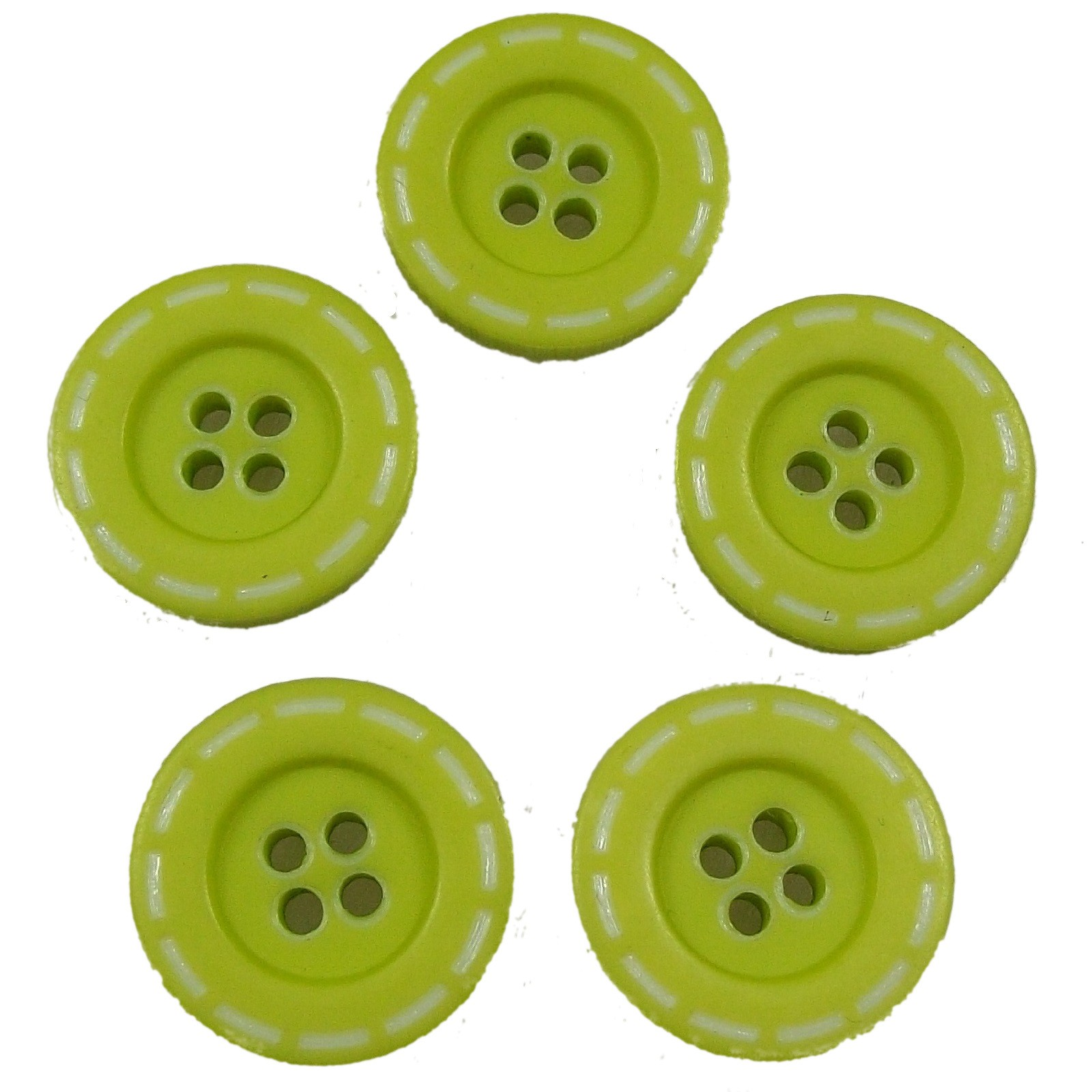 Stitched Edge Effect 4 Hole Buttons 17mm Light Green Pack of 5
