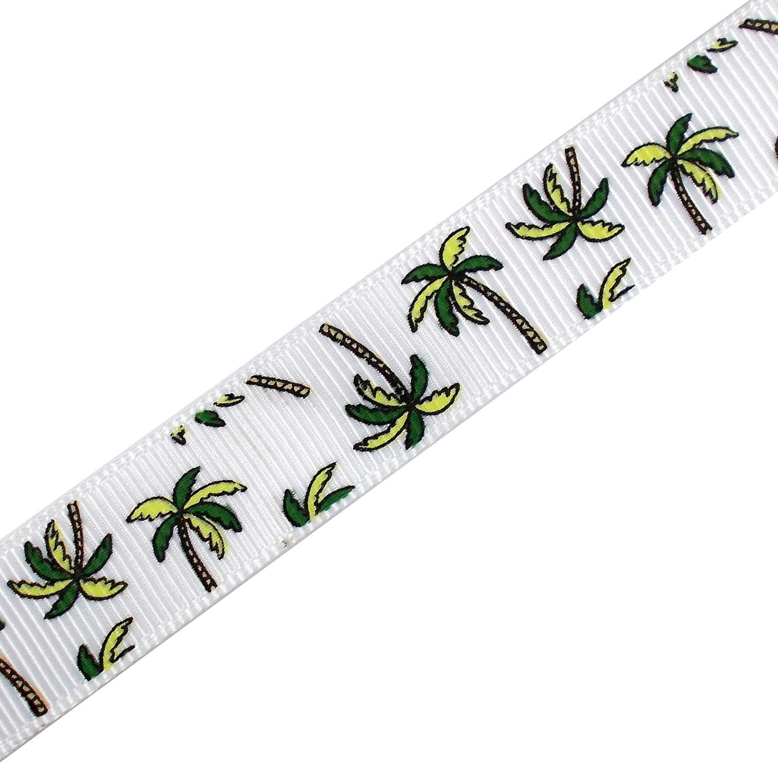 Tropical Print Grosgrain Ribbon 16mm Wide Palm Trees 1 metre length