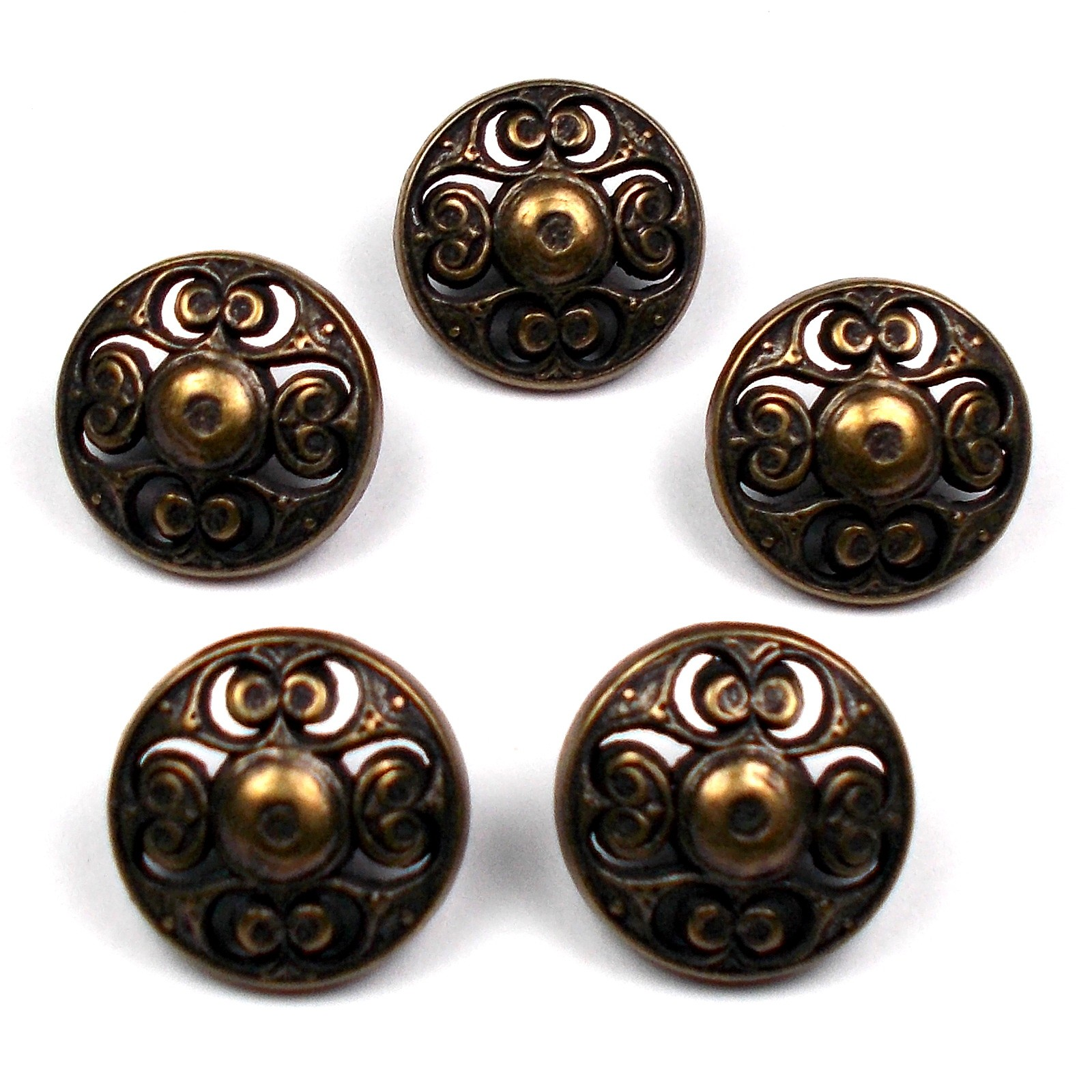 Vintage Style Metal Filigree Buttons 22mm Bronze Pack of 5