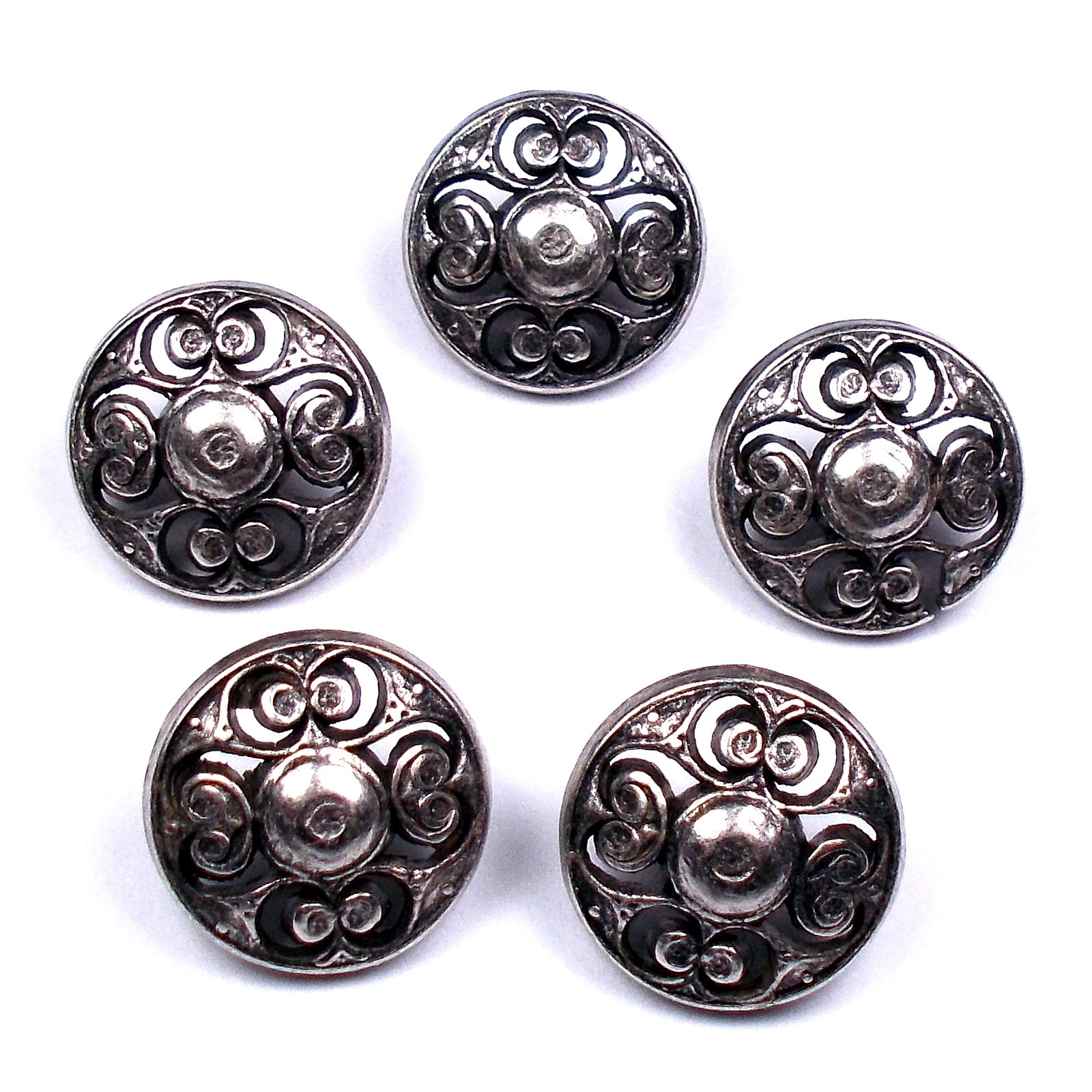 Vintage Style Metal Filigree Buttons 15mm Silver Pack of 5