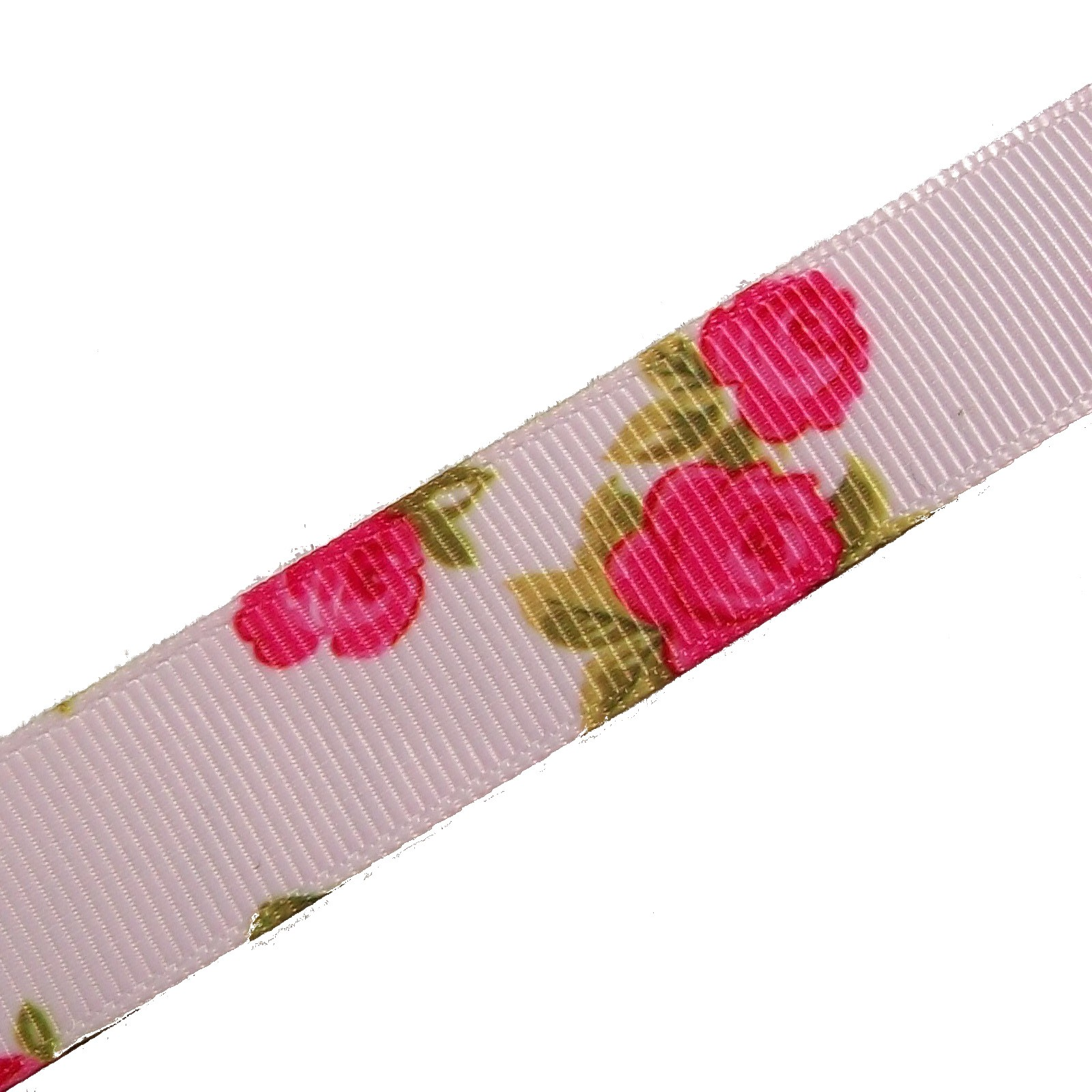 Vintage Style Rose Print Floral Grosgrain Ribbon 25mm wide Pink 2 metre length