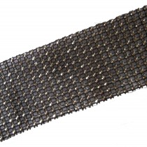 12 Row Diamante Trim 6cm Wide Black 1 metre length