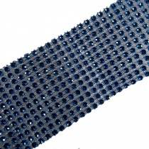 12 Row Diamante Trim 6cm Wide Blue 2 metre length