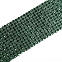 12 Row Diamante Trim 6cm Wide Green 3 metre length