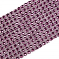 12 Row Diamante Trim 6cm Wide Pink 1 metre length