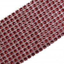 12 Row Diamante Trim 6cm Wide Red 3 metre length