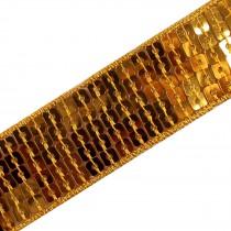 Square Sequin Trim 2.5cm wide Gold 2 metre length
