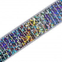 Square Sequin Trim 2.5cm wide Iridescent 2 metre length