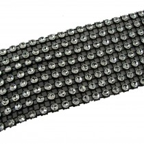 8 Row Diamante Trim 3.8cm Wide Black 2 metre length