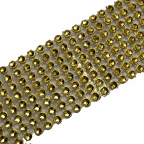 8 Row Diamante Trim 3.8cm Wide Gold 2 metre length