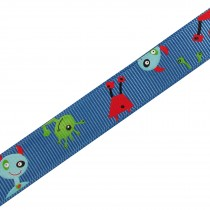 Adventure Childrens Ribbon 16mm Wide Blue Aliens and Monsters 3 metre length