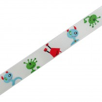 Adventure Childrens Ribbon 16mm Wide White Aliens and Monsters 2 metre length