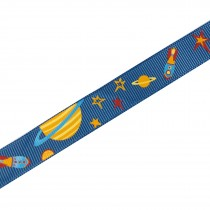 Adventure Childrens Ribbon 16mm Wide Blue Planets and Rockets 1 metre length