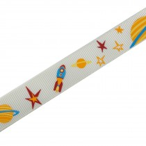 Adventure Childrens Ribbon 16mm Wide White Planets and Rockets 2 metre length