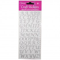 Alphabet and Number Sparkly Craft Stickers - Silver Script Glitter Letters