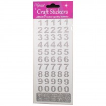 Alphabet and Number Sparkly Craft Stickers - Silver Bold Glitter Number