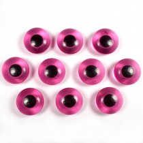Animal Eyes Round Plastic Buttons – For Decoration Only Not for Toy Use 11mm Pink Pack of 10