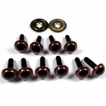 Animal Eyes for Teddy Bear Soft Toy Doll making 9mm wide Brown Pack of 10