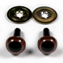 Animal Eyes for Teddy Bear Soft Toy Doll making 9mm wide Brown Pack of 2
