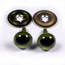 Cats Eyes for Teddy Bear Soft Toy Doll making 15mm wide Green Pack of 2