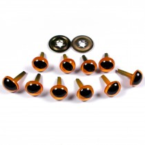 Cats Eyes for Teddy Bear Soft Toy Doll making 9mm wide Orange Pack of 10