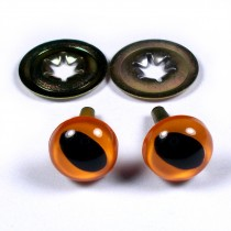 Cats Eyes for Teddy Bear Soft Toy Doll making 9mm wide Orange Pack of 2