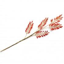 Tube Bead Branch Crystal Effect Leaf 20cm Red