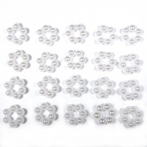 Small White Pearl Effect Bead Detail 8mmx 8mm Round Pack of 20