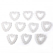 Small White Pearl Effect Bead Detail 10mm x 10mm Heart Pack of 10