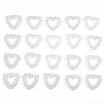Small White Pearl Effect Bead Detail 10mm x 10mm Heart Pack of 20
