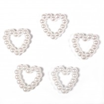 Small White Pearl Effect Bead Detail 10mm x 10mm Heart Pack of 5