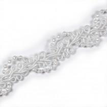 Beaded Braid Lace Trim 2cm wide White 1 metre length