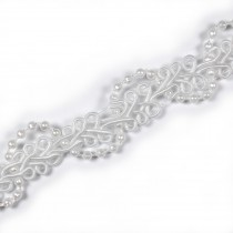 Beaded Braid Lace Trim 2cm wide White 2 metre length