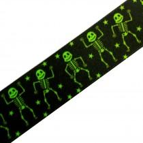 Berisfords Neon Halloween Ribbon 25mm wide Green Skeletons 1 metre length