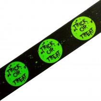 Berisfords Neon Halloween Ribbon 25mm wide Green Trick or Treat 1 metre length