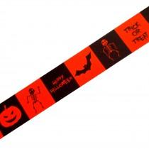 Berisfords Neon Halloween Ribbon 25mm wide Orange Bat 1 metre length