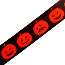 Berisfords Neon Halloween Ribbon 25mm wide Orange Pumpkins 1 metre length