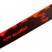 Berisfords Neon Halloween Ribbon 25mm wide Orange Trick or Treat 1 metre length