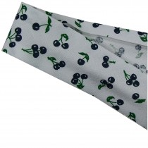 Bias Binding Patterned Cotton 25mm wide White with Black Cherries 3 metre length