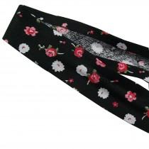 Bias Binding Patterned Cotton 25mm wide Black with Flowers 3 metre length