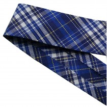 Bias Binding Patterned Cotton 25mm wide Blue Tartan 2 metre length