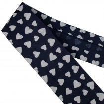 Bias Binding Patterned Cotton 25mm Blue with White Hearts 2 metre length