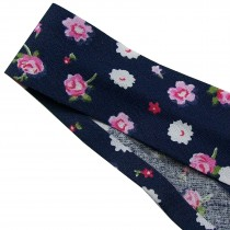 Bias Binding Patterned Cotton 25mm wide Dark Blue with Flowers 1 metre length