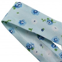 Bias Binding Patterned Cotton 25mm wide Pale Blue with Flowers 2 metre length
