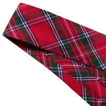 Bias Binding Patterned Cotton 25mm wide Red Tartan 1 metre length
