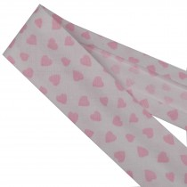 Bias Binding Patterned Cotton 25mm White with Pink Hearts 2 metre length