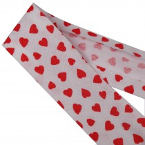 Bias Binding Patterned Cotton 25mm White with Red Hearts 1 metre length