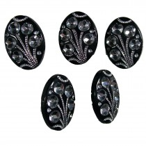 Black Diamante Art Deco Style Buttons 15mm x 10mm Oval Pack of 5