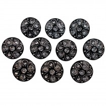 Black Diamante Art Deco Style Buttons 20mm Round Pack of 10